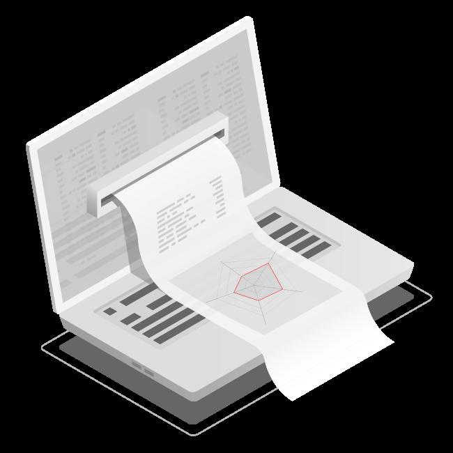 Illustration vom Laptop und einem Readiness Check Zettel der aus dem Screen vom Laptop herauskommt
