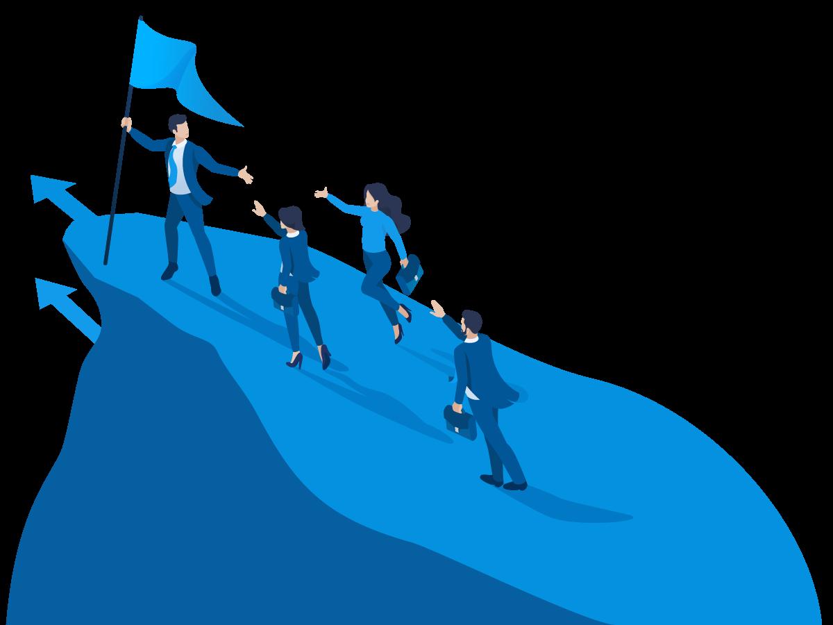 Eine Illustration von einem Mann mit Flagge in der Hand, der auf einem Fels steht und drei andere Personen zu sich nach oben ruft