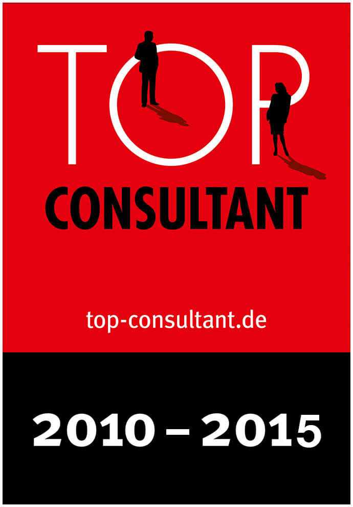Auszeichnungssiegel für Top Consultant 2010 bis 2015