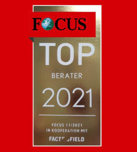 Auszeichnungssiegel für FOCUS Top Berater 2021